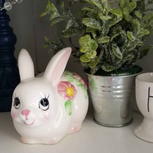 Cotton Ball Dispenser, Ceramic Bunny Rabbit - Figurine