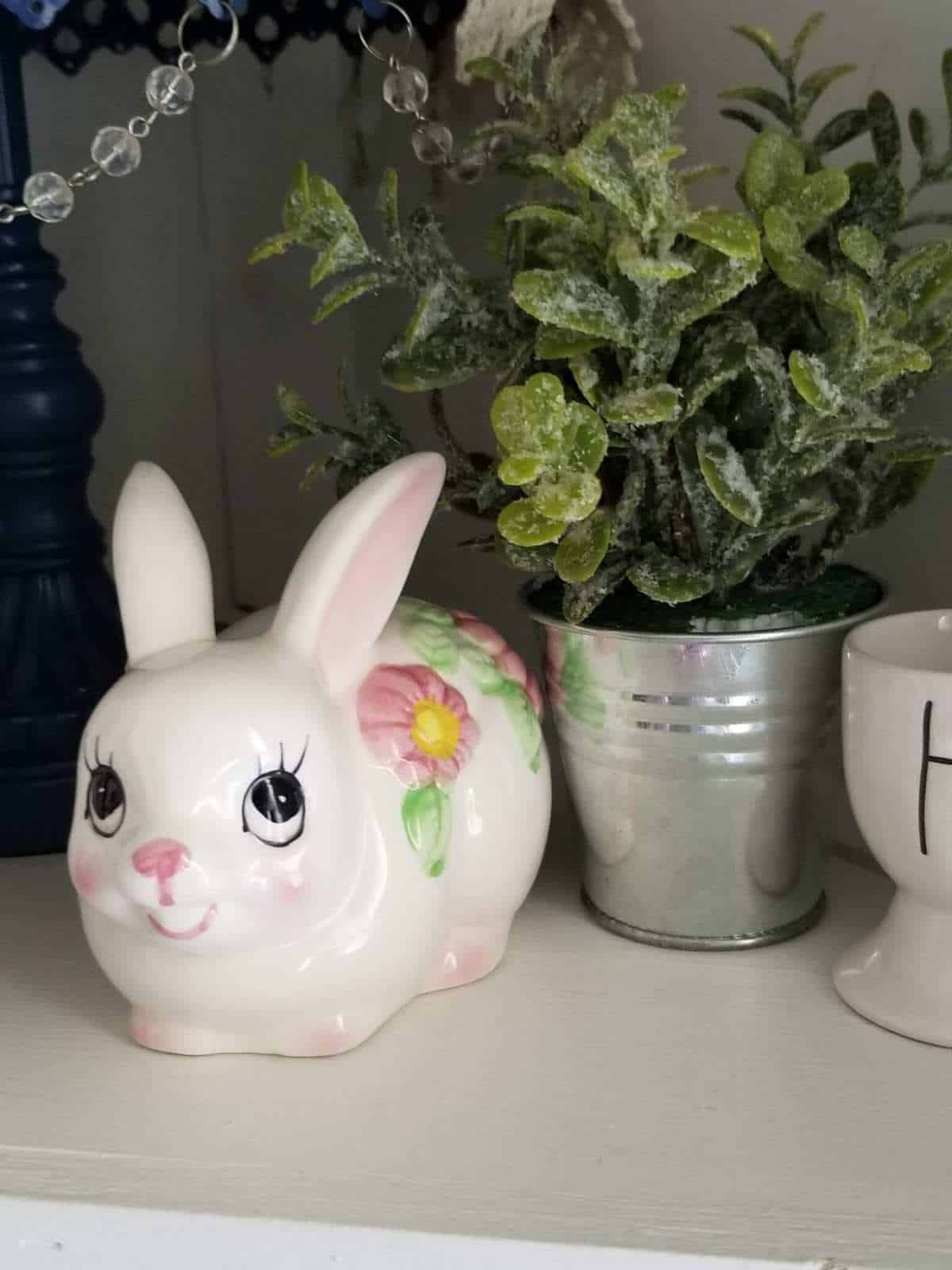 Ceramic White Cute Bunny Figurine Rabbit Cotton Ball Holder with Pink Flowers Free Shipping