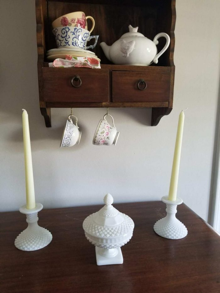 """Candle Holders, Milk Glass, """"English Hobnail"""" by Westmoreland"""