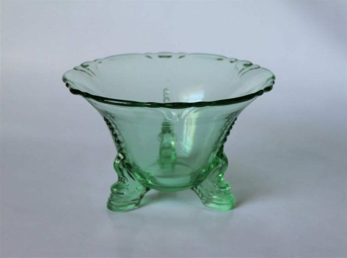 """Mayonnaise Bowl, """"Empress Moongleam"""" by Heisey, 3 Toed Dolphin, SOLD"""