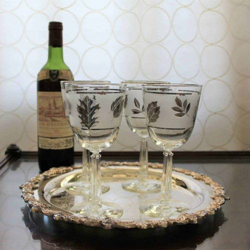 Wine Glasses, Libbey Silver Foliage, Mid-Century Modern - Set of 4