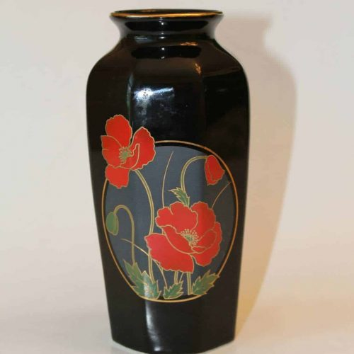 Vase Oriental Black Porcelain Octagon - Red Flowers / Poppies, SOLD