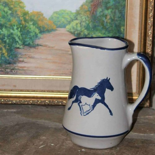 Pitcher, Hand Painted Stoneware Horses, Louisville Stoneware, Kentucky, SOLD