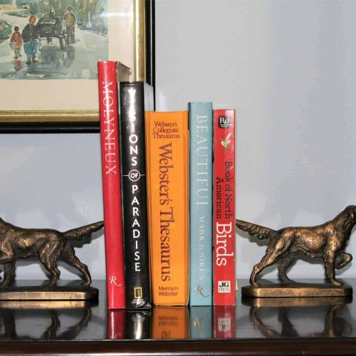 Bookends, Setter Dogs, Brass Plated Cast Iron, Pair, SOLD