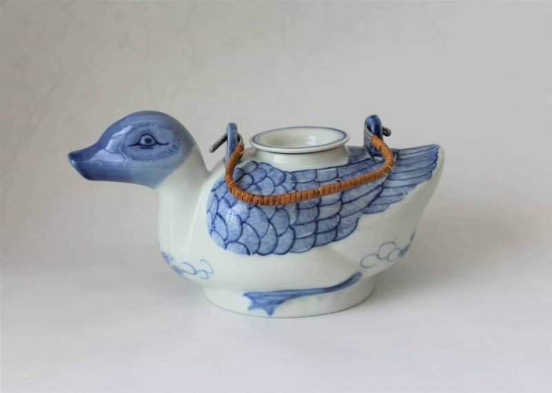 Teapot, Duck Shape, Hand Painted / Blue and White, China