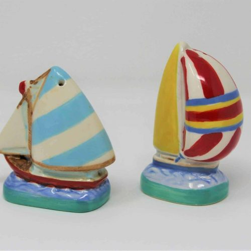 Salt and Pepper Shakers Sailboats, Porcelain Figurines, SOLD