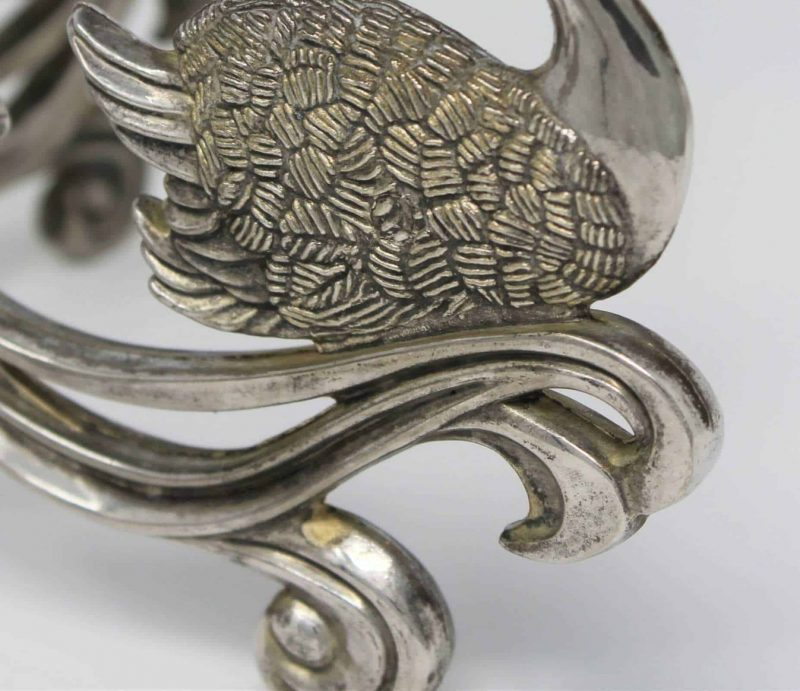 Candle Holder / Epergne Silver plate on Brass Swan, 4 Lights, G. B. 1033795, SOLD