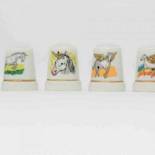 Thimbles Unicorn and Pegasus Collection, Porcelain, Set of 6