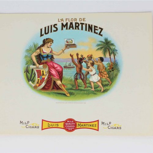 Label Cigar Box, La Flor De Luis Martinez, Genuine-Original, Unused - Antique