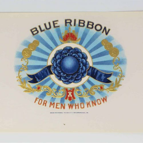 Label Cigar Box, Blue Ribbon Inner Box, Genuine-Original, Unused - 1920's