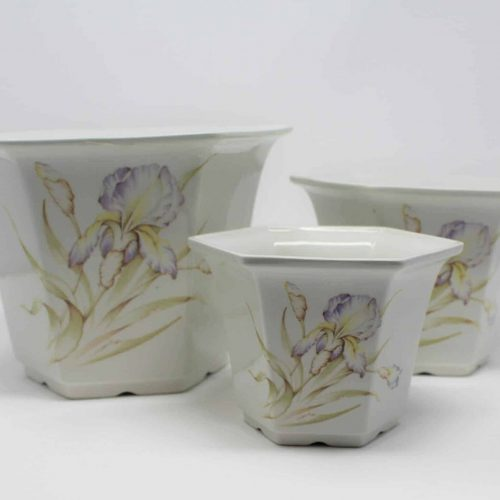 Planters, Royal Winton, Staffordshire, England - Purple Iris, Set of 3