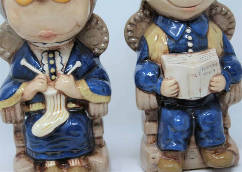 Bookends, Ceramic Grandma and Grandpa (Old Man and Old Woman), Vintage 1974