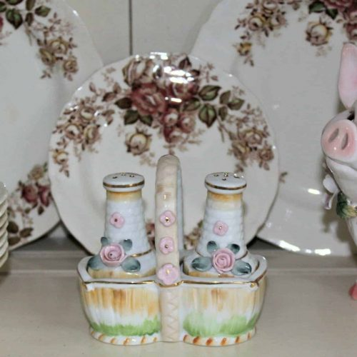 Salt and Pepper Shakers In Basket, Relief Pink Roses, Porcelain Japan
