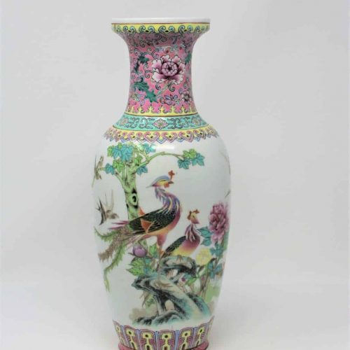 Vase Famille Rose Porcelain, Zhongguo Jingdezhen Zhi, China, SOLD