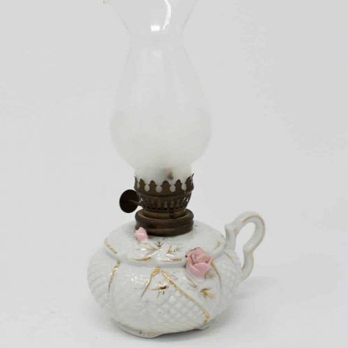 Mini Oil Lamp, Waffle Porcelain with Pink Roses, Relco Japan
