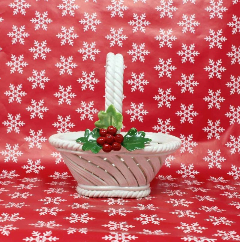 Decorative Basket, Christmas Holly, Nuova Capodimonte Porcelain, Made In Italy
