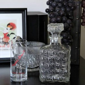 Decanter, Quilted Glass Square, Retro / Vintage, SOLD