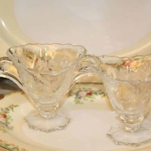 """Creamer and Sugar Bowl, """"Orchid"""" by Heisey, Glass Etched and Footed"""