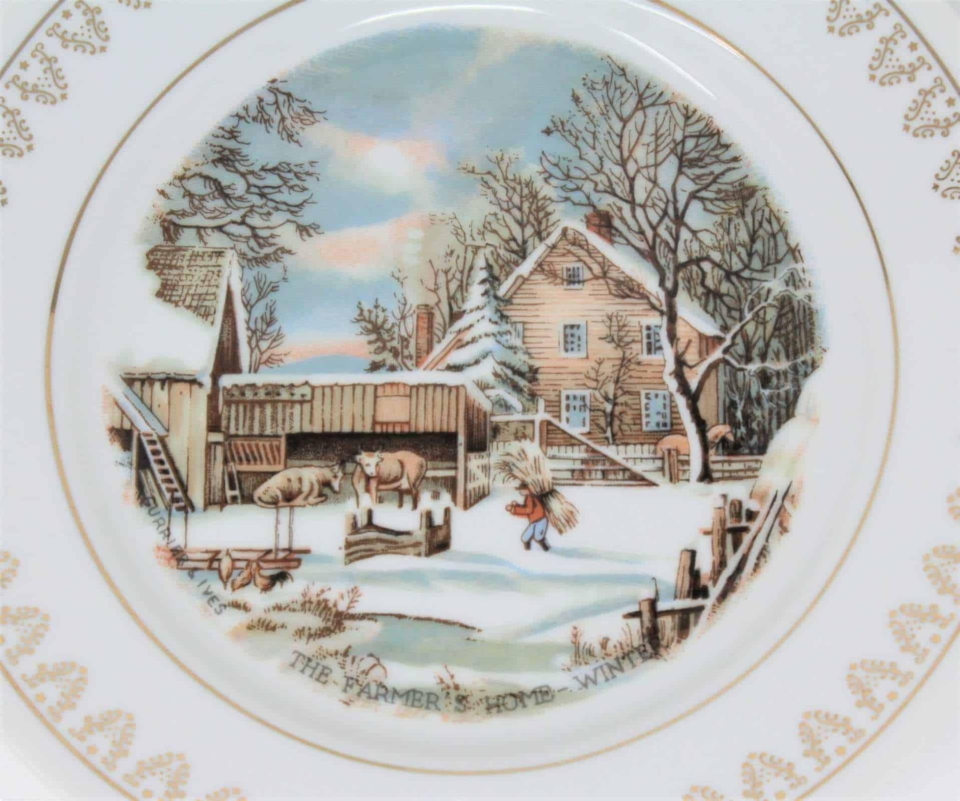 Decorative Plate The Farmer's Home In Winter, Currier & Ives Collection, Roy Thomas Limited Edition