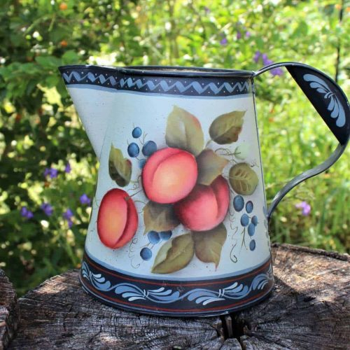 Watering Can/Pitcher, Folk Art, Hand Painted Metal/Tin
