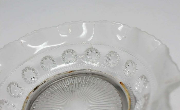 """Candy/Nuts Dish, Bagley Glass """"Katherine"""", Frosted Glass /Silver Nappy"""