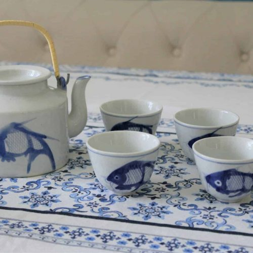 Tea Set Koi Fish: Tea Pot & 4 Teacups, Blue/White Hand Painted, China
