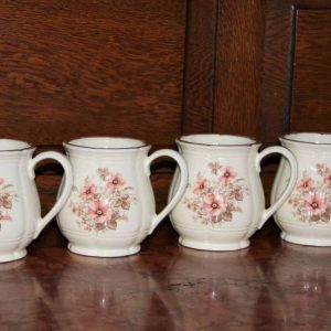 """Mugs, """"Dream Rose"""" by Town House China, Stoneware, Set of 4"""