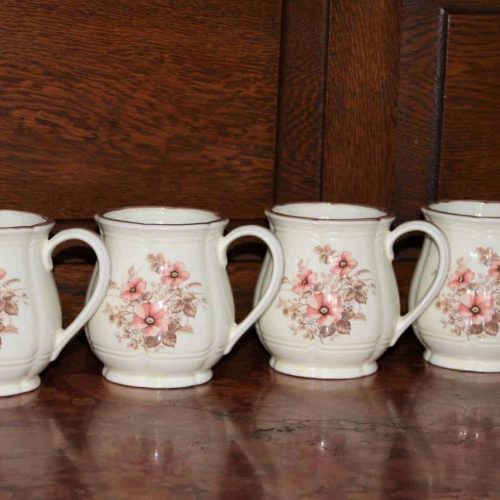 "Mugs, ""Dream Rose"" by Town House China, Stoneware, Set of 4"