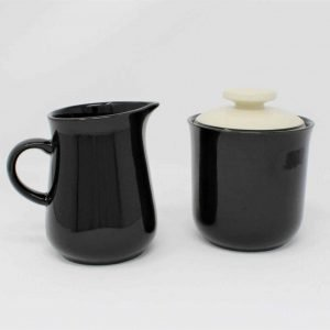 Creamer and Sugar Bowl with Lid, Celebrity Stoneware, Black/White, Japan