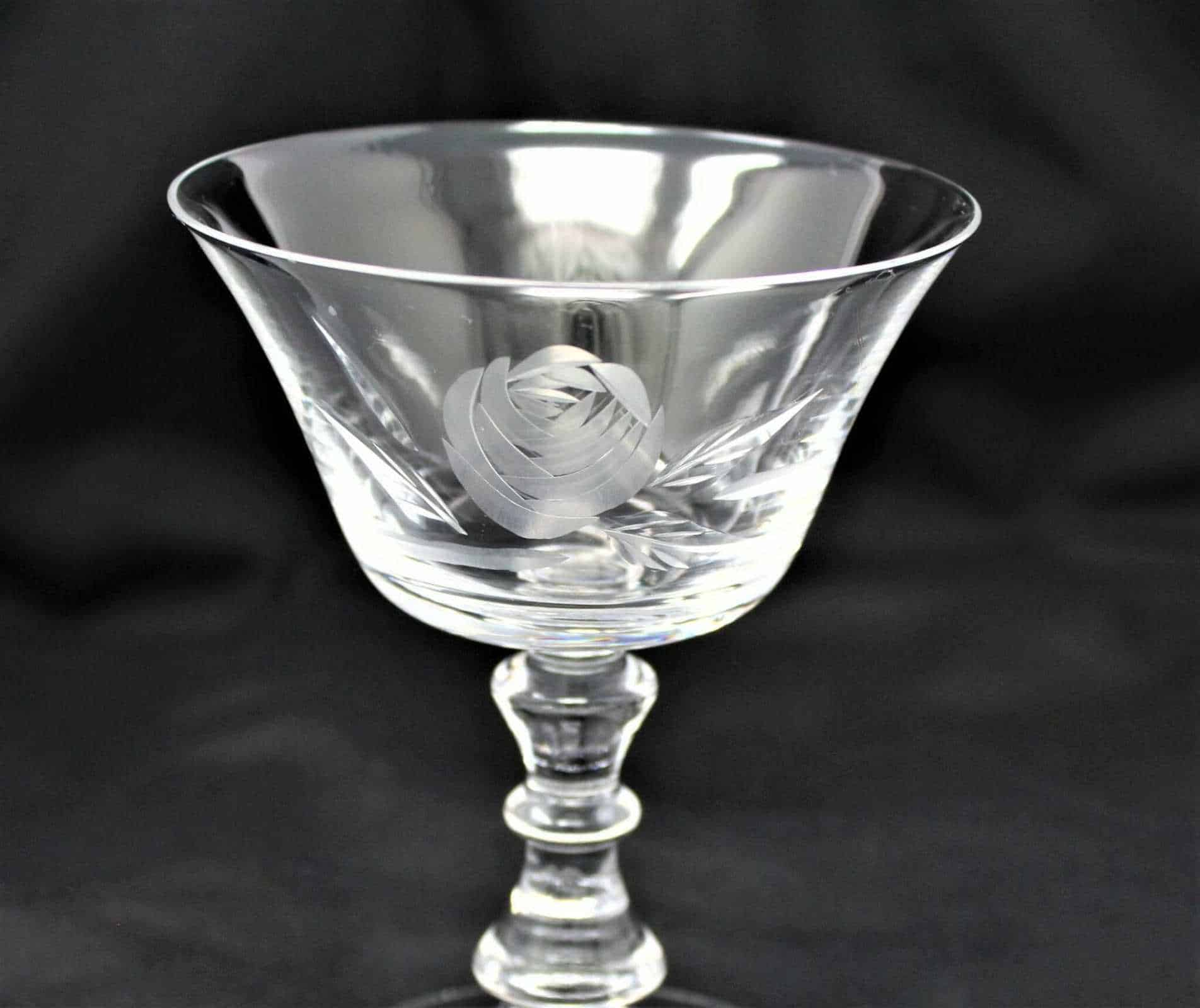 "Glasses, Cocktail / Liquor Stemware, Fostoria ""Rose"", Cut/Blown Glass, Set of 6"