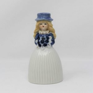 Bell Figurine, Girl Blue and White, Porcelain