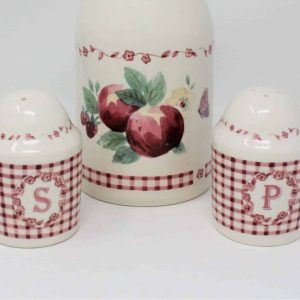 """Salt and Pepper Set, """"Delicious"""" by Pfaltzgraff, Red Gingham"""