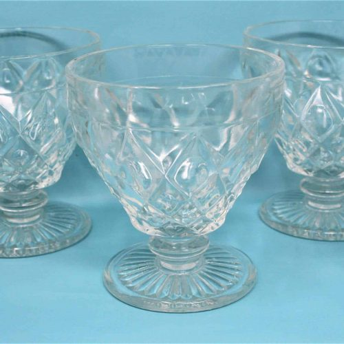 "Champagne/Tall Sherbet, ""Diamond Thumbprint"" Clear by Hazel Atlas, Set of 6"