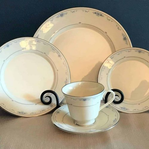 "Dinnerware Complete Service for 8, ""Carolina"" (Blue Flowers)by Lenox, 5 Piece Place Settings (40 Pcs)"