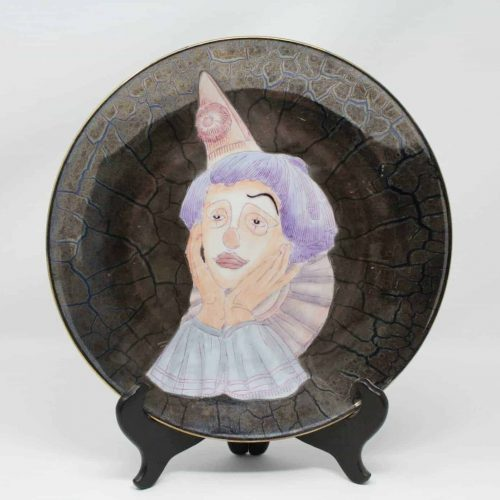 """Decorative Plate, in the Style of """"Dreams"""" by Paul Sebastian, Sad Clown Face Porcelain"""