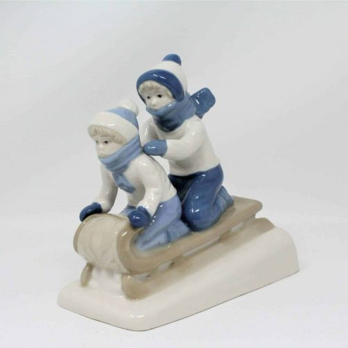 "Figurine Vintage ""Boy And Girl On Sled"" Porcelain Style #1992"