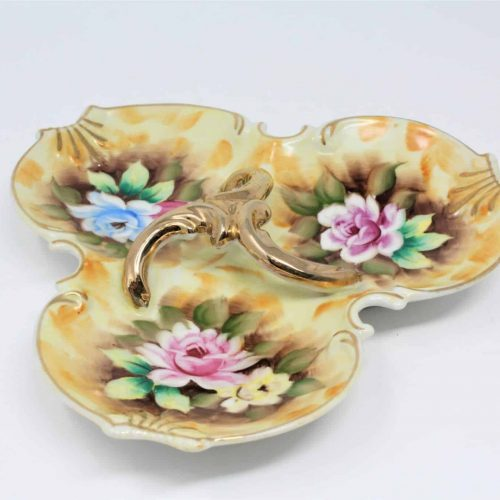 Dish, Divided 3-Section Floral Gold, Enesco #2370, Japan