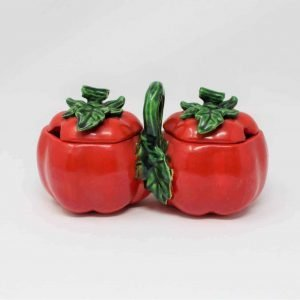 Condiment Set / Salt and Pepper, Tomato Ware by Ucagco Japan