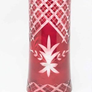 Candle Hurricane / Chimney, Ruby Red Cut To Clear Glass, Open Ended