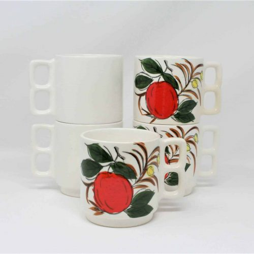 Mugs, Double Finger Holes, Ceramic Apple Design- Japan
