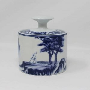 """Sugar Bowl with Lid, """"Canton Blue"""" Pattern - China"""