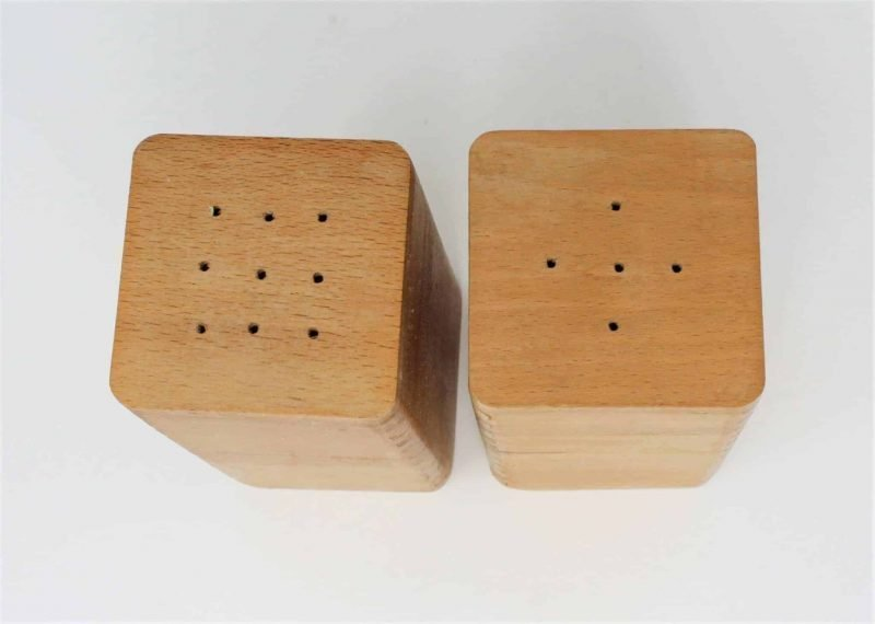 Salt and Pepper Shakers, Wood Mid Century Modern Square- Japan