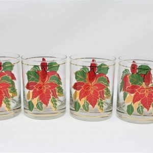 """Glasses, Rocks/Whiskey, Culver """"Poinsettia"""" Old Fashioned Glass, Set of 4"""