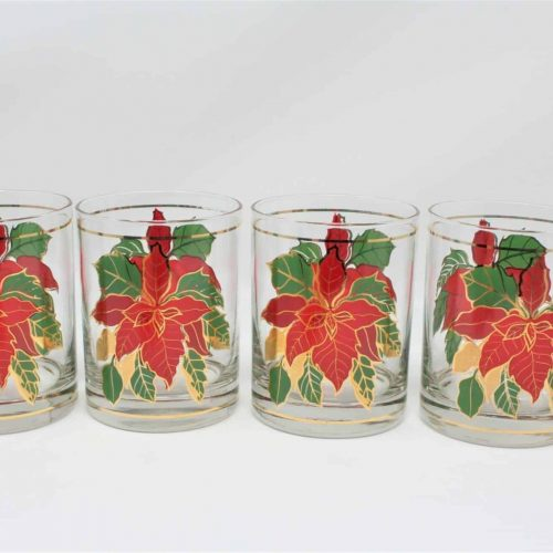 "Glasses, Rocks/Whiskey, Culver ""Poinsettia"" Old Fashioned Glass, Set of 4"