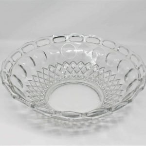 Bowl, Decorative, McKee Glass, BAND / Colonial with Diamond Band / Plymouth Thumbprint Clear
