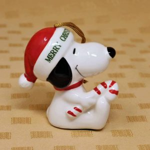 Ornament Christmas Snoopy with Candy Cane, Porcelain