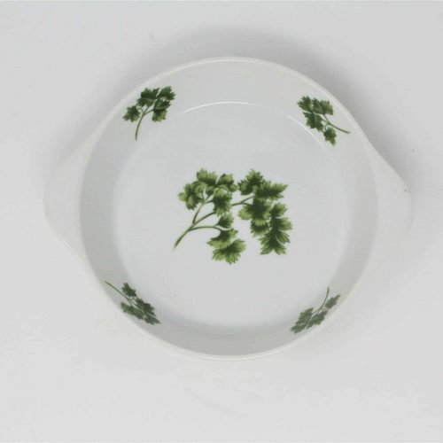 "Ovenware, Egg Dish, Round Eared (Handles), ""Parsley"" by Sadek 8189, Japan 6"""
