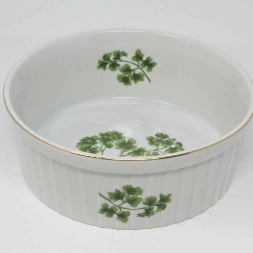 "Ovenware, Souffle Dish, ""Parsley"" by Sadek 7378, Japan 7"""