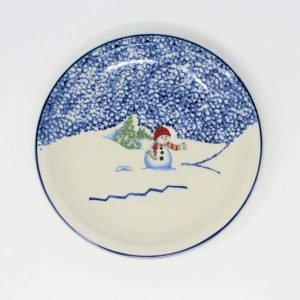"""Plates, Salad, """"Snowman 39118"""" Pattern by Thomson Pottery, Set of 4"""