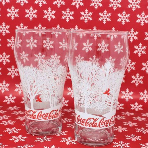 Glasses, Coca Cola Bell Shaped Tumbler, Holiday Winter Red Cardinal, Set of 2